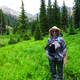 Mary Beth Galer hiking at Mica Lake in the Mount Zirkel Wilderness Area Photo courtesy Phil Schaeffer
