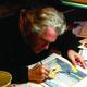 Local author and artist Doug Hansen illustrating.