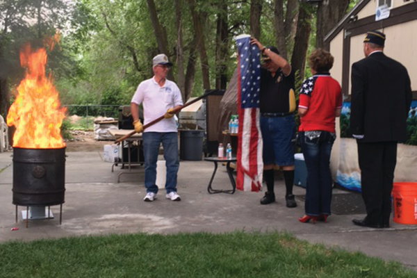A flag retirement ceremony was held at the American Legion Post 112 in Murray on Flag Day, June 14, to honor and retire flags no longer serviceable to fly. —Susie Brass