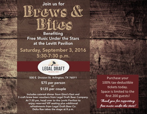 Brews  Bites Benefiting the Levitt Pavilion - start Sep 03 2016 0530PM