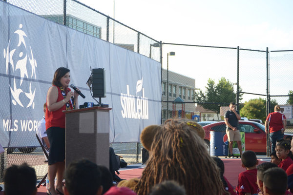 Principle Amber Clayton speaks at the opening ceremonies for the new soccer pitch at Granger Elementary. –Kimberly Roach