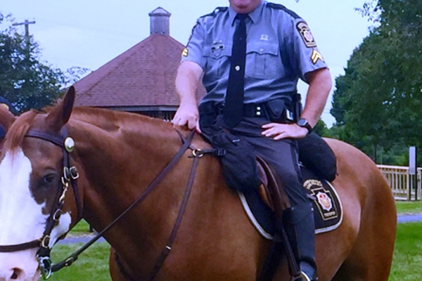 Mounted police were on hand to meet visitors
