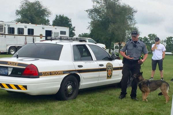 A police K9 unit was part of the day's events.