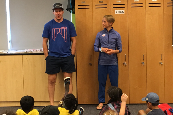 Ted Ligety and Liz Stephen, Olympic skiers, answer questions from child spectators after a motivational presentation at the YMCA Community Family Center in Taylorsville. –Tori La Rue