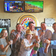 """the owners and the trainer toast with champagne in the the """"Winner's Bar"""""""