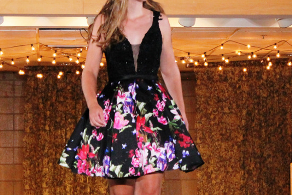 Ashley K. models clothes from Rubi Jubi during the annual Back-to-School Fashion Preview Aug. 17, 2016 at the Maple Grove Community Center. (Photo by Wendy Erlien)