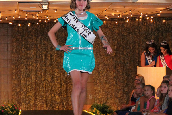 Paige Colson models her homemade duct tape fashion (a winner at Maple Grove Days) during the Back-to-School Fashion Show Aug. 17. (Photo by Wendy Erlien)