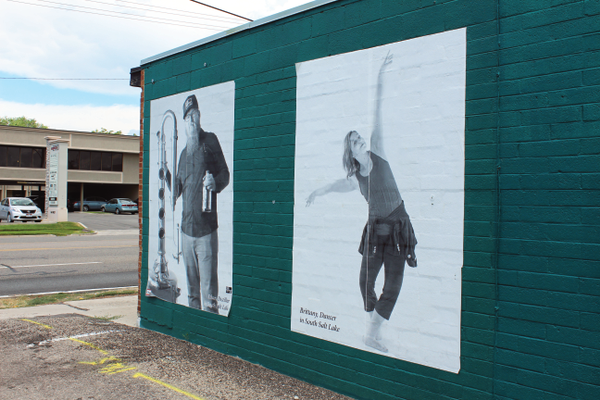 : Six-by-eight murals were pasted on the sides of businesses in the area. –Orlando Rodriguez
