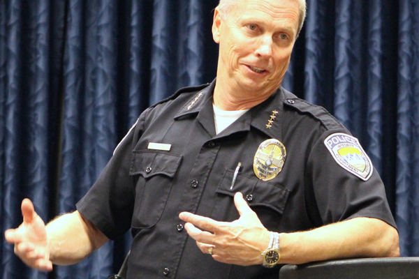 Sandy City Police Chief Kevin Tacker gives an update to the Sandy City Council on the state of the department before going to the Salt Lake Community College - Miller Campus for a demonstration of police training. (My City Journals/Chris Larson)