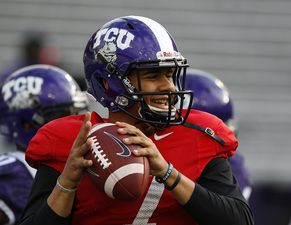 Happy Hill  Kenny Hill is all smiles after being named as the starting quarterback for 13 ranked TCU The Horned Frogs will open the season in Fort Worths Amon G Carter Stadium against South Dakota State Photo Courtesy of TCU Athletics