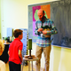 Third-grade teacher Rober Macdonald greets one of his new students. (Carol Hendrycks/City Journals)