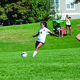 """Junior Macy Martinez sets up for a goal against Olympus. """"One of the highlights of this season was beating Olympus 6-1,"""" Martinez said. """"As soon as the whistle blew we showed Olympus 'what was up'. We scored four goals in the first half and that really gave us the confidence to finish the game off on a high note."""" (Steve Christensen/Murray resident)"""