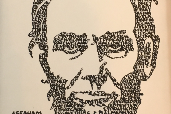 Lori Howell formed an image of Abraham Lincoln using calligraphy of the Gettysburg Address. (Lori Howell/Lori Howell Calligraphy)