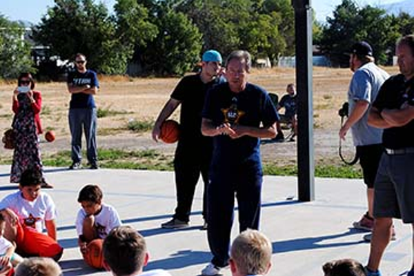 Salt Lake City Stars play-by-play announcer Steve Brown addresses Taylorsville youth at basketball camp (Billy Swartzfager)