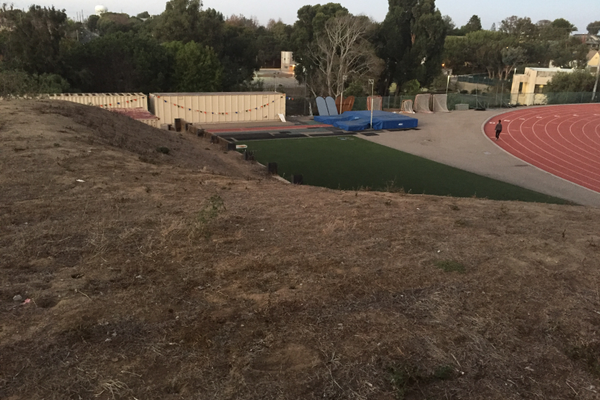 "The ""dirt pile"" next to the Mira Costa gym"