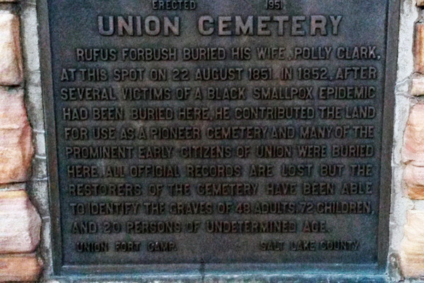 Union Pioneer Cemetery plaque describing the founding of the historic cemetery. (Cassie Goff/City Journals)