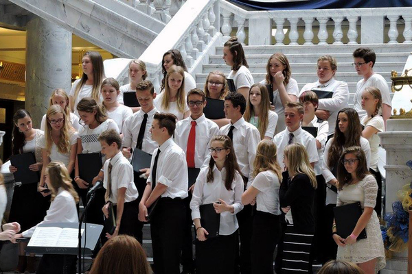 Oquirrh Hills Middle School Choir students get ready to perform at the Utah State Capitol on Oct. 3. (Jordan School District)