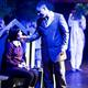 """Ryan Hoskins (Gomez) sings to Brynnly Bosworth (Wednesday) during the second act of """"The Addams Family"""". (Dustin Bolt and Amy Bosworth/Midvale Main Street Theatre)"""