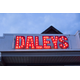 Exterior of Daley's Clothing sign.