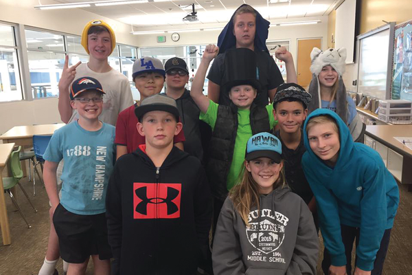 One class makes recycled hats in art class. (Butler Middle Art Facebook)