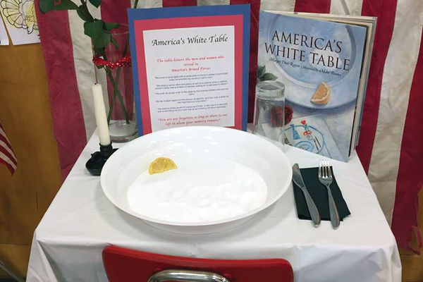 """America's White Table"" exhibits inside Upland Elementary. (Upland Elementary)"