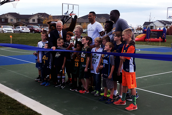 A ribbon cutting was held to commemorate the new Jazz court and the renovated Bingham Junction Park on Oct. 27. (Travis Barton/City Journals)