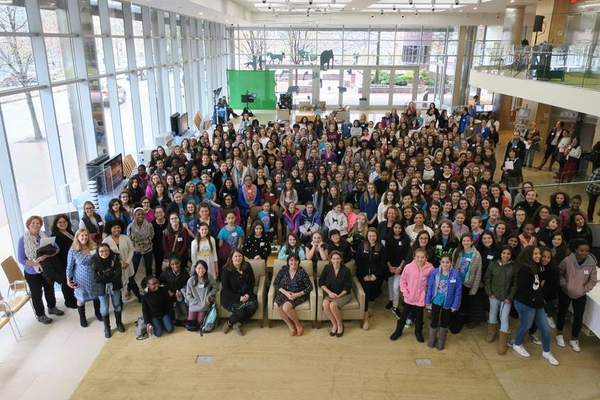 Over 250 middle school students attended day 1 of the Empowering Girls Conference  Pictured here with Megan Costello, Executive Director of the Office of Women's Advancement at the City of Boston, Middlesex District Attorney Marian Ryan and Kendra Foley, Watertown School Committee Member.
