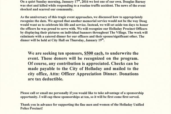 Sponsorship letter from Holladay City Mayor Rob Dahle. (Rob Dahle/Holladay City)
