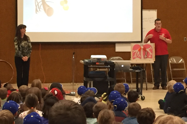 Altara students learned from Breathe Utah's education coordinator Dawn Monson and Wasatch Front presenter Terry Aragon that particulate pollution, or PM2.5, gets stuck in their lungs. (Julie Slama/City Journals)