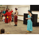 Jafar, played by Caiden Kehrer, and Iago, played by Zach Thorn, inform the Sultan, played by Jack Brammley, and Jasmine, played by Emily Kirkham, that it's now his job to marry the princess. (Keyra Kristoffersen/City Journals)