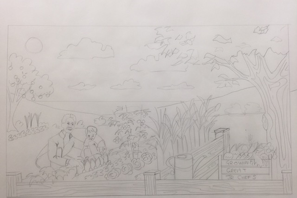 An early draft of the mural
