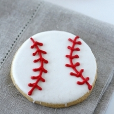 Medium baseball sugar cookie