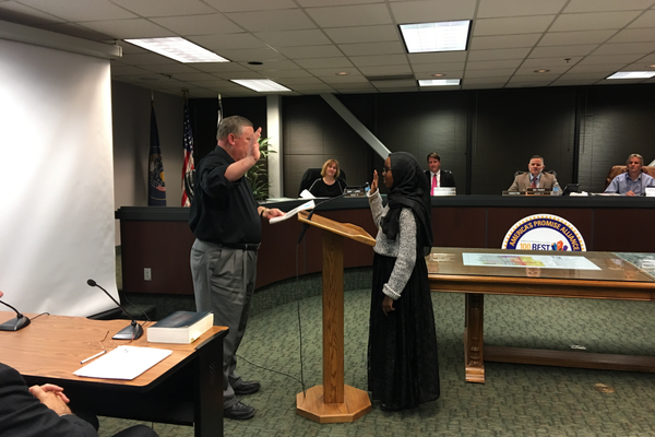 Saida Daher is sworn in as mayor pro tem of the South Salt Lake Youth Council (Kelly Cannon/City Journals)