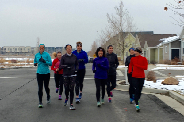 Residents Becky Lundberg, Shauna Ball, Lisa Ashton, Julie Mederios, Laury, Corey, Melonie, Andrea Madsen run in freezing temperatures in South Jordan (Mylinda LeGrande/City Journals)