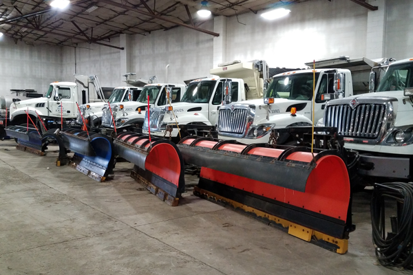 West Jordan employees line up snowplow trucks in preparation for a storm. (West Jordan City)