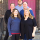 Pictured from the front (left to right) are the Props Manager Christina Miller, House Manager/Publicity Becky Kikkert, Co-Producers Beth Jewell and Ron Wilkie, and Show Director Trevor Kastein