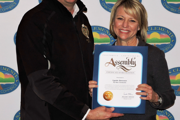 California Assemblyman Bill Brough and Educator of the Year Lynda Donovan