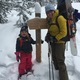 Backcountry enthustiasts Kelly Bastone and daughter Simone prepare to snowshoe up to Broome Hut on Berthoud Pass Photo courtesy of Kelly Bastone
