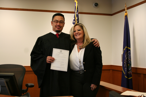 Judge George Vo-Duc was sworn in on Jan. 24 at the Midvale Justice Court by City Recorder Rori Andreason. (Midvale Justice Court)