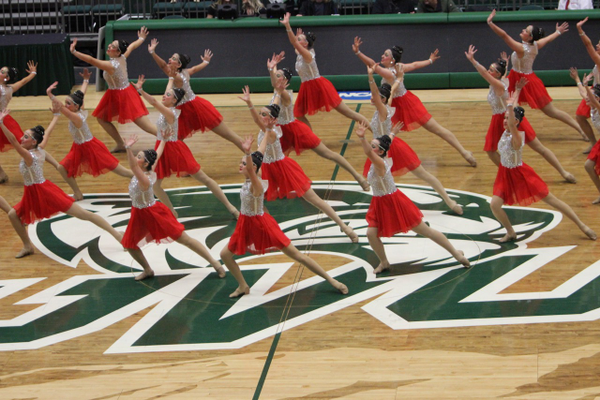 "Dancing to Celine Dion's song, ""Power of Love,"" Hillcrest High drill team awed the judges and crowd with their dance routine during the state competition. They won the dance category. (Scott Tarbet/Hillcrest High School)"