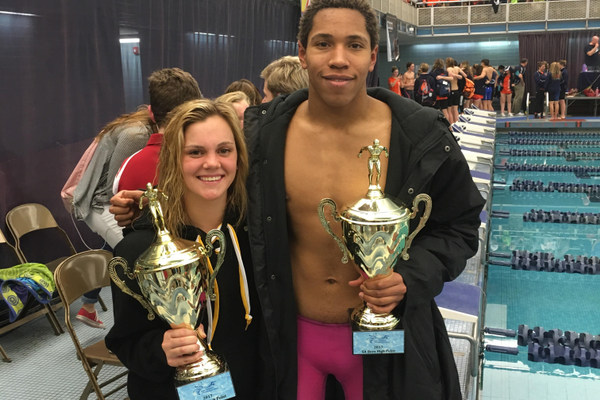 Colts 200 IM state champions Rhyan White and Blayze Kimble. (Ron Lockwood/Cottonwood High swim team)