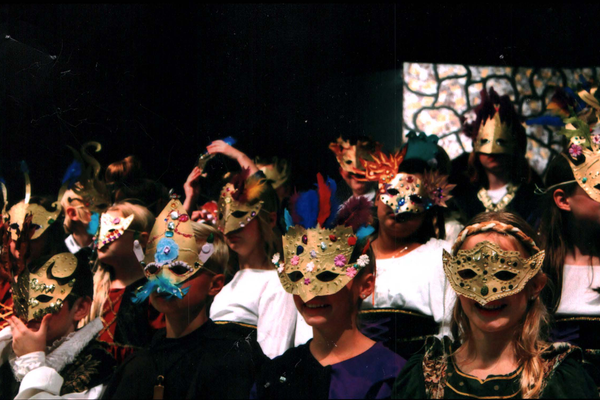 The masks were made by the students who proudly wore them during their play. (Linette Sheffield/Dilworth teacher).