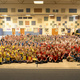 The student body at Highland Park came together to become a crayon box representing community. (Katherin Wallin/Parent).