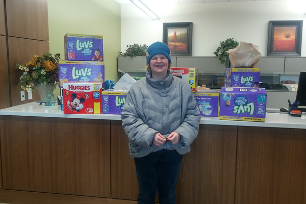 The Cottonwood Heights Business Association held a diaper drive with the goal of acquiring 5,000 diapers. Cottonwood Heights resident, Jessica Allen, contacted her friends and family, and gathered more than 1,000 for the drive. (Peri Kinder/Cottonwood Heights)