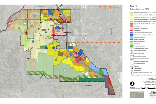 This map shows the designated future land uses of Herriman City by color. (Herriman City)