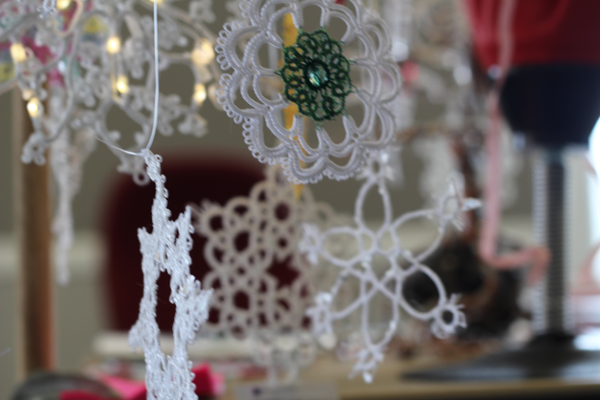 Tatted lace snowflakes decorate Dawn Steinike's home.