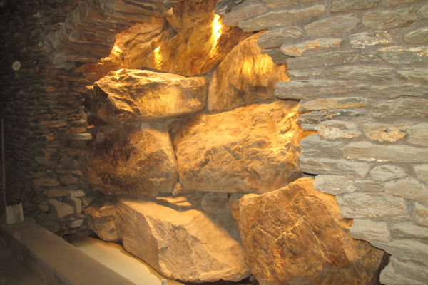 In The Grotto, this rock wall will carry a stream of water.