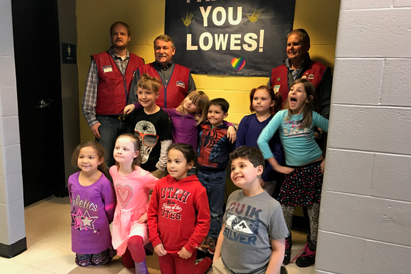 The kids were very excited to get their new bathrooms thanks to the Lowes team. (Natalie Molliinet\City Journals).