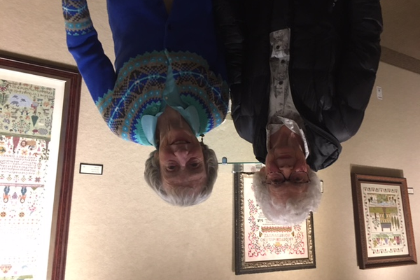 Two residents from Parklane Senior Living came to the art exhibit. (Michelle Glover/City Journals)