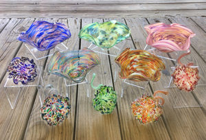 Medium glass 20flared 20bowls 20and 20flowers